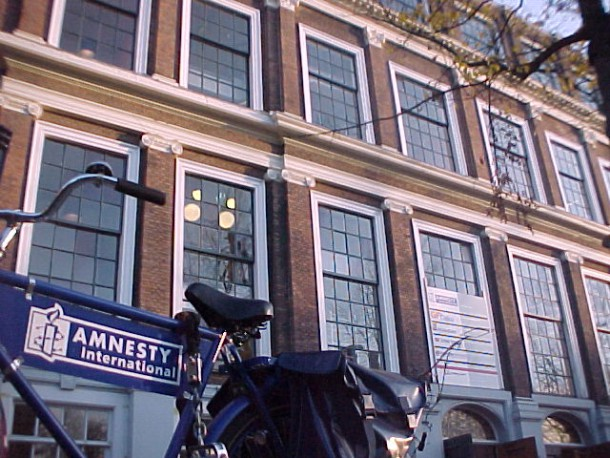 Bike with logo Amnesty International in front of their office.